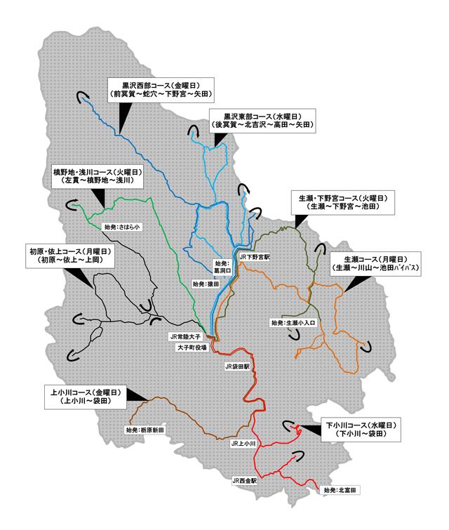 みどり号(町民無料バス)路線概要図